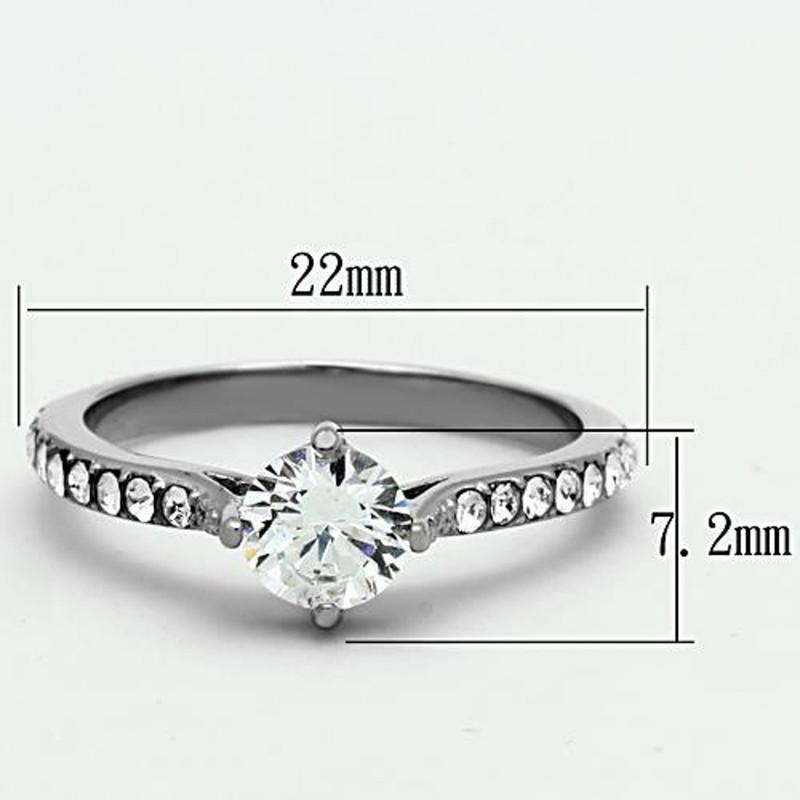 ARTK1339 Stainless Steel 1 Ct Cubic Zirconia Silver Engagement Wedding Ring Women's Sz 5-10