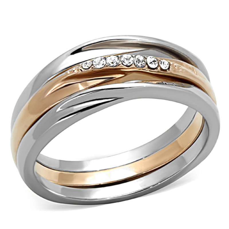 ROSE GOLD PLATED STAINLESS STEEL 3 PIECE WEDDING RING SET WOMEN'S SIZE 5-10