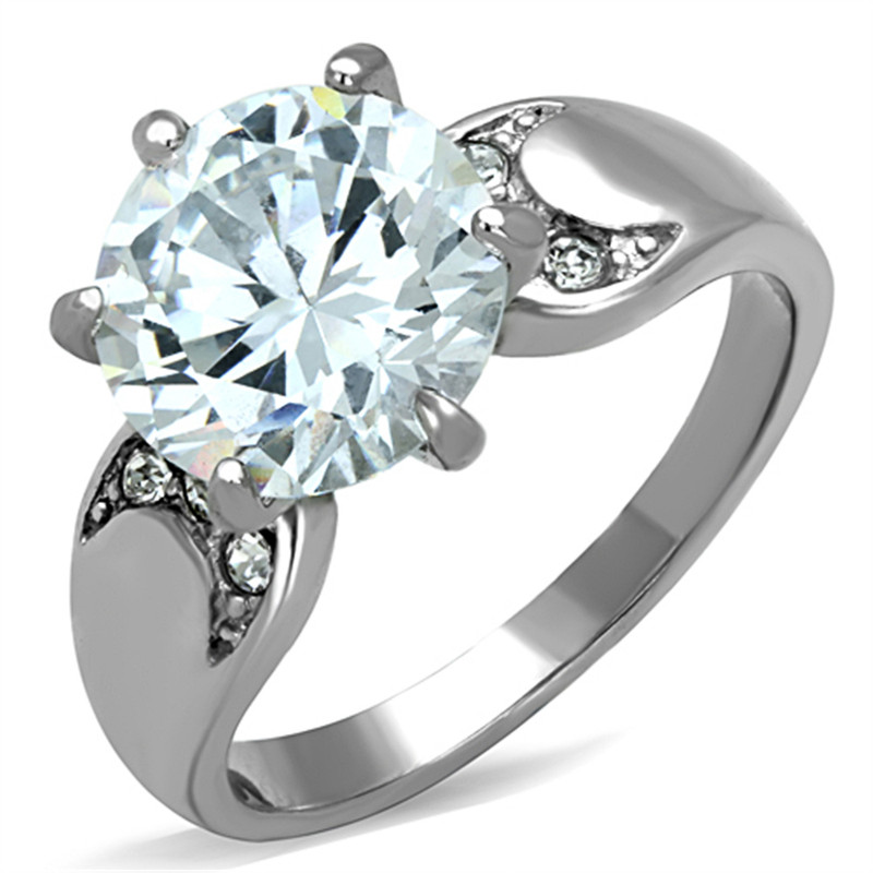 STAINLESS STEEL 316L HIGH POLISHED 3.9 CT ROUND CUT CZ  ENGAGEMENT RING SIZE 5-10