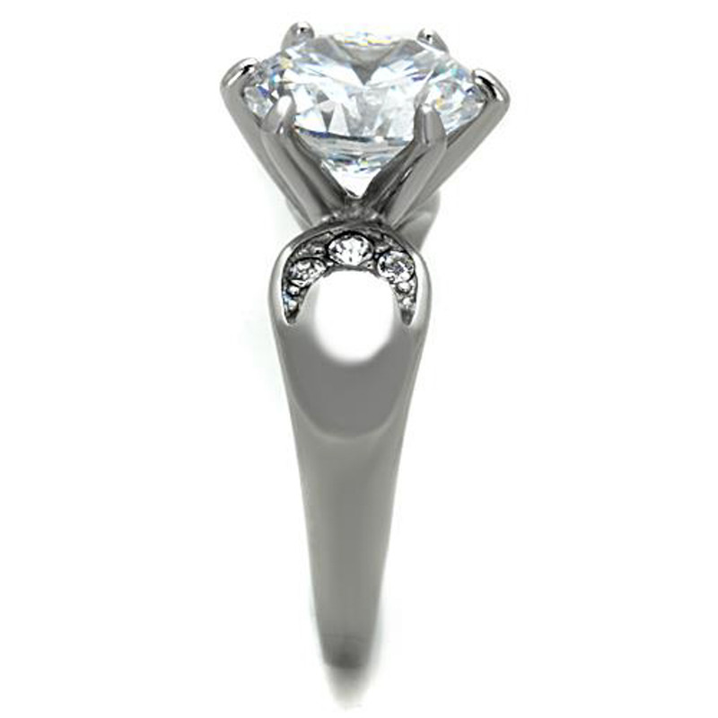 ARTK1536 High Polished Stainless Steel 3.9 Ct Round Cut CZ Engagement Ring Size 5-10