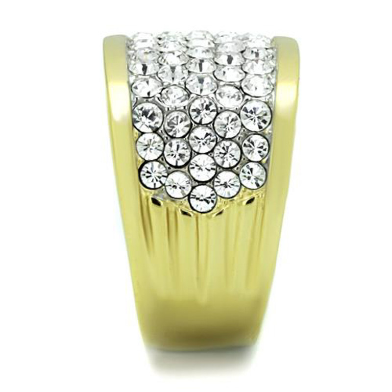 ARTK1545 Stunning Stainless Steel 14k Gold Ion Plated Crystal Cocktail / Fashion Ring Size 5-10