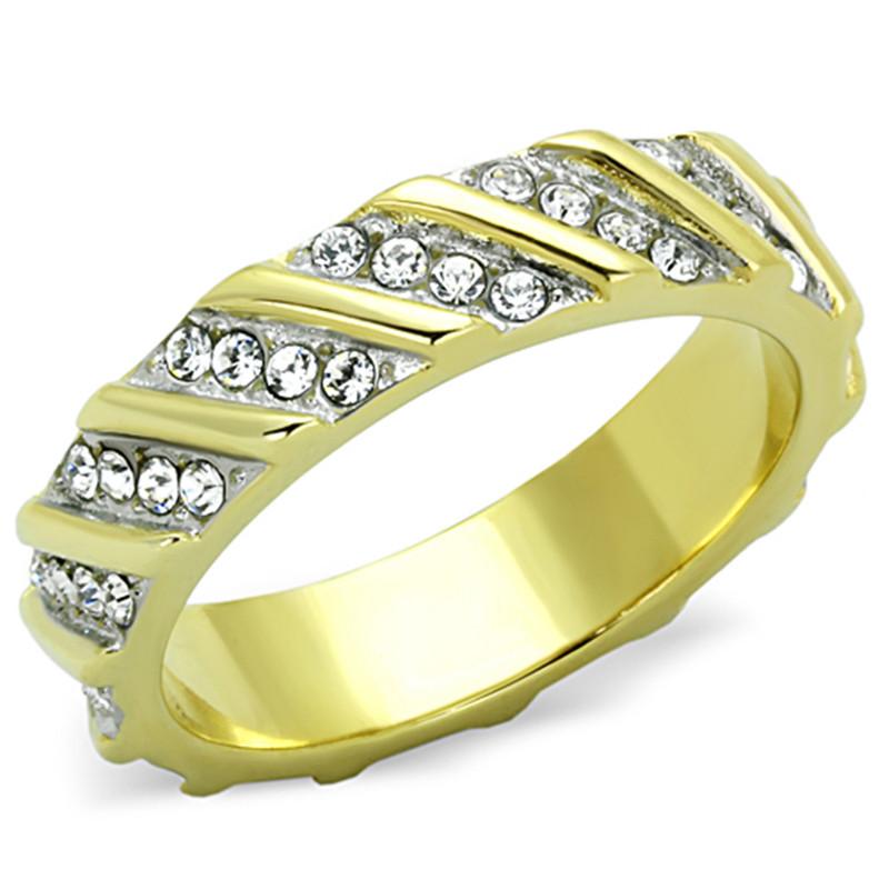 Round Cut Two tone AAA CZ Eternity Anniversary Wedding Ring Band Women's Sz 5-10