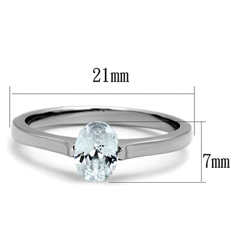 ARTK1762 Stainless Steel .76 Ct Zirconia Oval Solitaire Engagement/Promise Ring Size 5-10