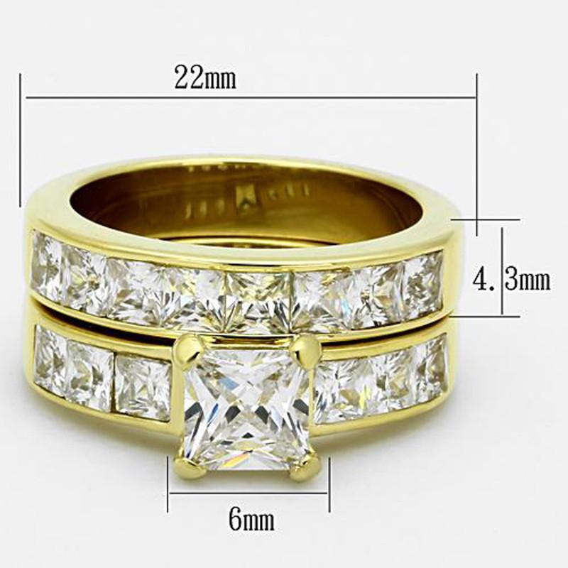 ARTK61206G Stunning Princess Cut CZ 14k GP Stainless Steel Wedding Ring Set Women's Sz 5-11