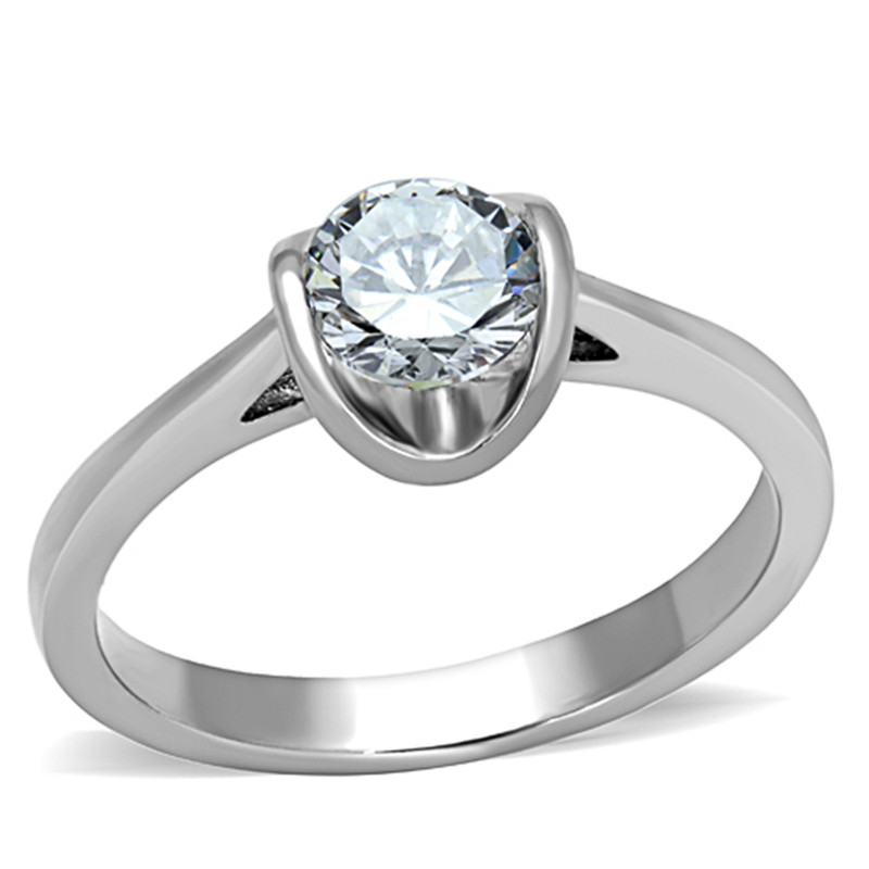 STAINLESS STEEL 316L HIGH POLISHED .85CT CZ PROMISE / ENGAGEMENT RING SIZES 5-10