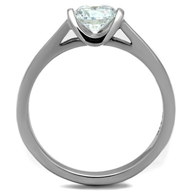ARTK1763 Stainless Steel .85 Ct CZ High Polished Promise / Engagement Ring Sizes 5-10