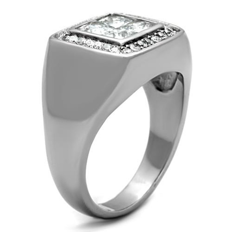 ARTK1608 Stainless Steel Men's 2.01 Ct Princess Cut Simulated Diamond Silver Ring Sz 8-13