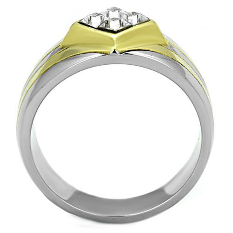 ARTK1610 Men's .72 Ct Princess Cut Simulated Diamond Two Tone Stainless Steel Ring Sz 8-13
