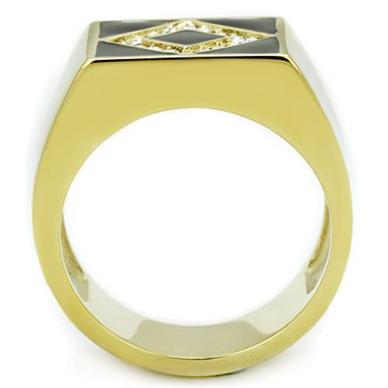 ARTK1613 Men's Stainless Steel Gold Plated & Black Epoxy, Simulated Diamond Ring Sz 8-13