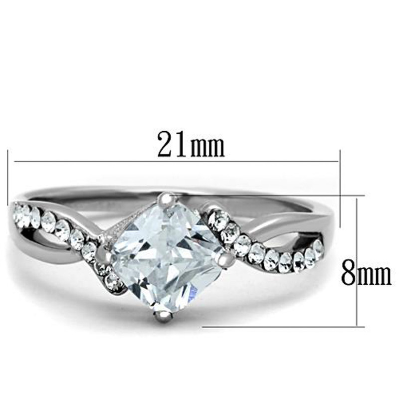 ARTK1761 High Polished Stainless Steel .915 Ct Square Cut CZ Engagement / Promise Ring Size 5-10