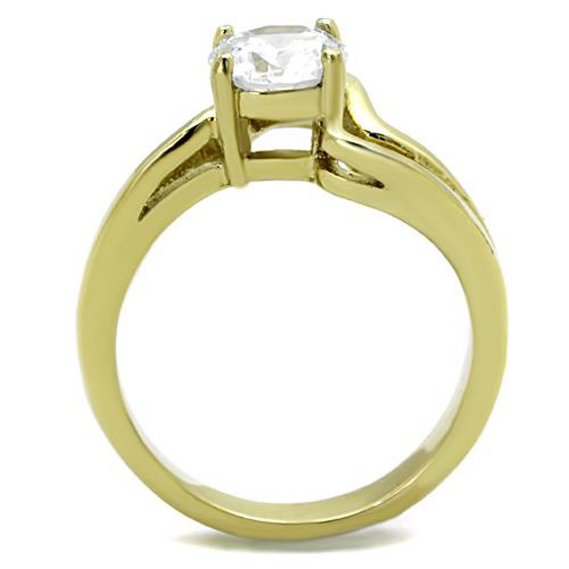 ARTK1702 Stainless Steel 1.325 Ct CZ Round Cut Gold Ion Plated Engagement Ring Size 5-10