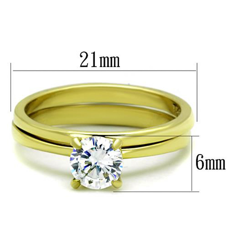 ARTK1721 Stainless Steel Classic Wedding Ring Set .85 Ct Round Cut CZ 14k GP Women's Size 5-10