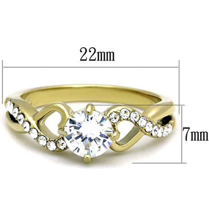 ARTK1722 Stainless Steel .89 Ct CZ Round Cut Gold Ion Plated Engagement Ring Size 5-10