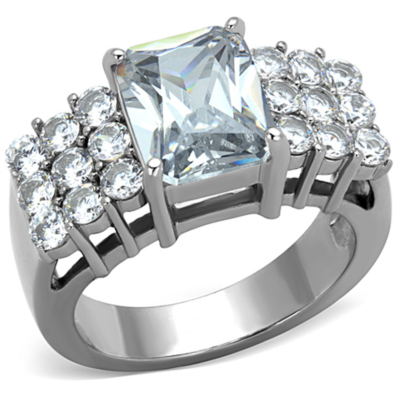 STAINLESS STEEL 316L STUNNING 4.57 CT RADIANT CUT CZ ENGAGEMENT / COCKTAIL RING SIZE 5-10