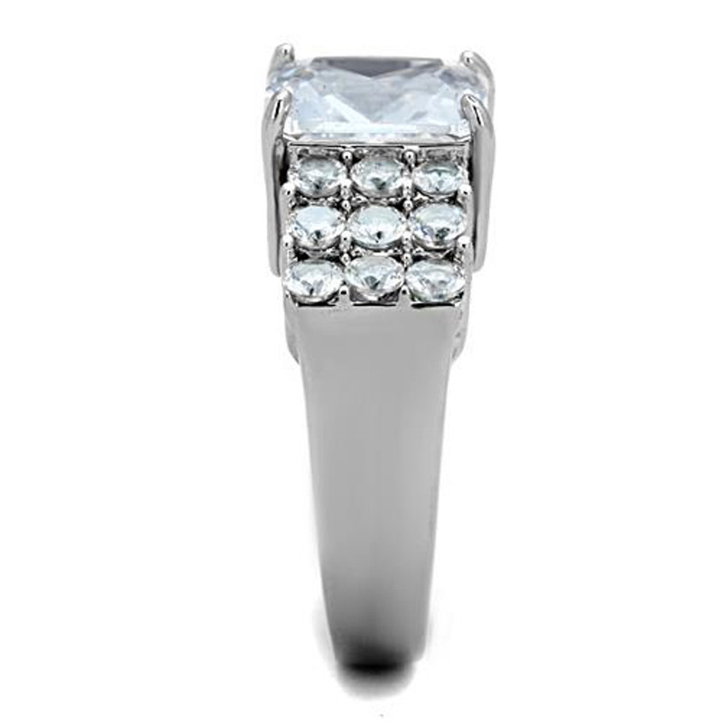 ARTK1753 Stunning 4.57 Ct Radiant Cut CZ Stainless Steel Engagement / Cocktail Ring Size 5-10