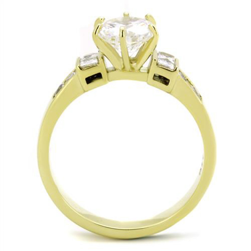 ARTK1898 Stainless Steel 14k Gold Ion Plated 1.25 Ct CZ Engagement Ring Women's Size 5-10