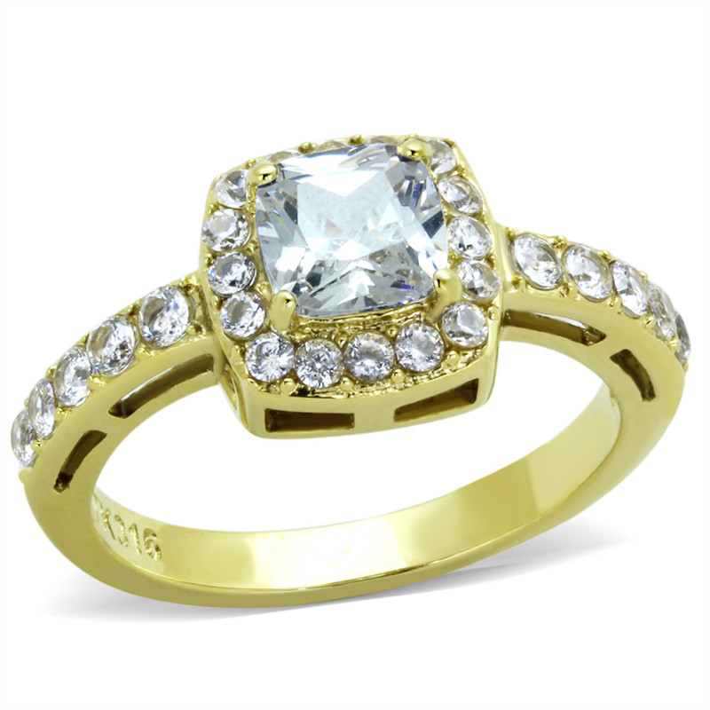 14K GOLD ION PLATED STAINLESS STEEL 1.63CT SQUARE CUT CZ HALO ENGAGEMENT RING SIZES 5-10