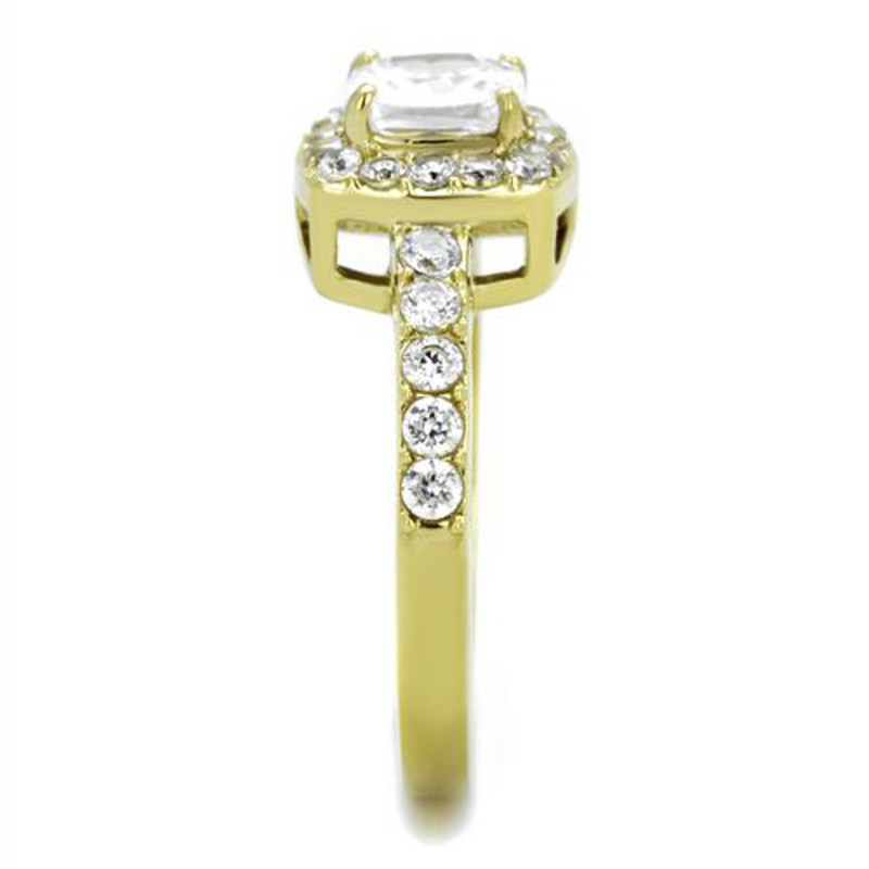 ARTK1899 1.63 Ct Square CZ Gold Ion Plated Stainless Steel Halo Engagement Ring Sizes 5-10