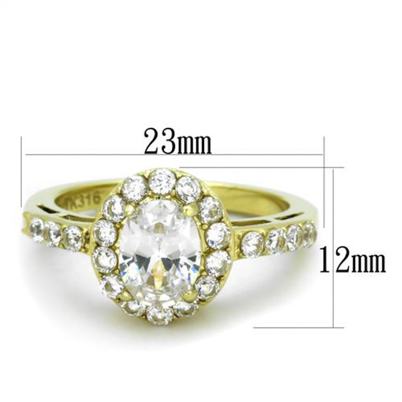 ARTK1901 Stainless Steel 1.87 Ct Oval CZ Gold Ion Plated Halo Engagement Ring Size 5-10
