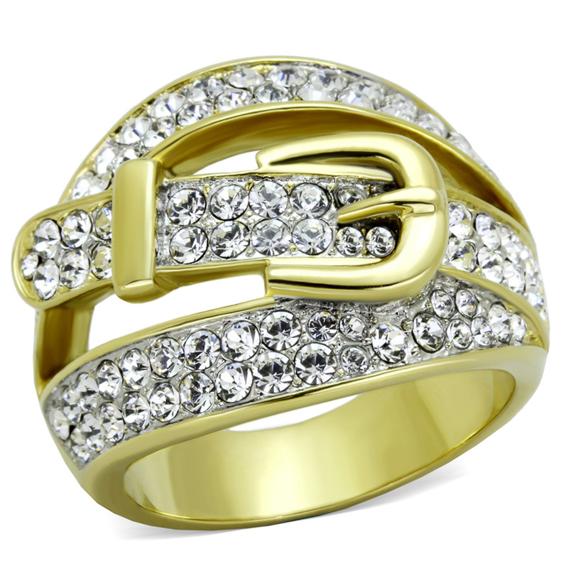 14K GOLD ION PLATED STAINLESS STEEL 316L CRYSTAL BELT/FASHION RING SIZES 5-10