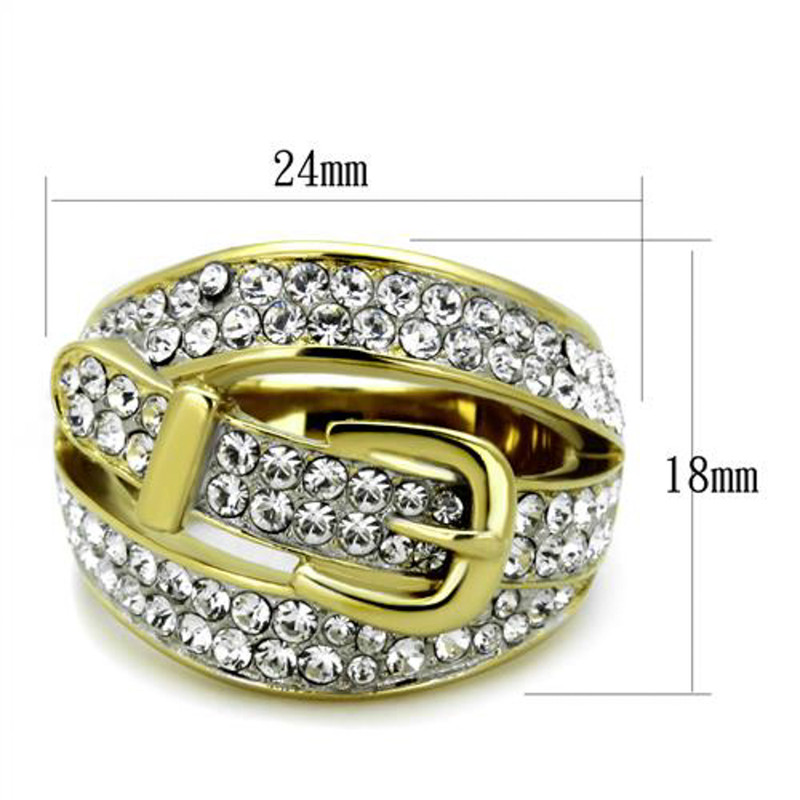 ARTK1906 Stainless Steel 14k Gold Ion Plated Crystal Belt/fashion Ring Sizes 5-10