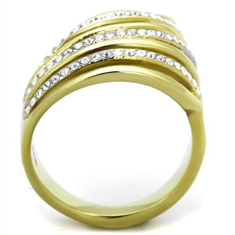 ARTK1909 Stainless Steel 14k Gold Ion Plated Crystal Fashion Ring Sizes 5-10