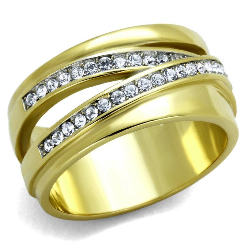 14K GOLD ION PLATED STAINLESS STEEL 316L CRYSTAL ANNIVERSARY / FASHION RING SIZES 5-10