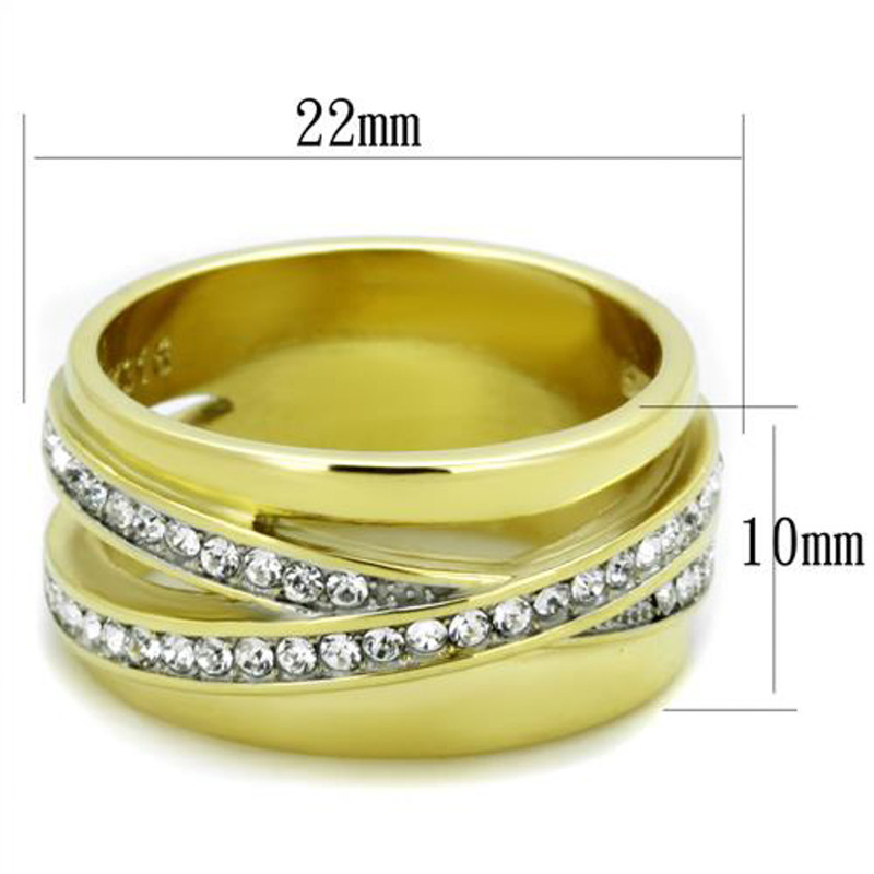 ARTK1914 Stainless Steel 14k Gold Ion Plated Crystal Anniversary / Fashion Ring Sizes 5-10