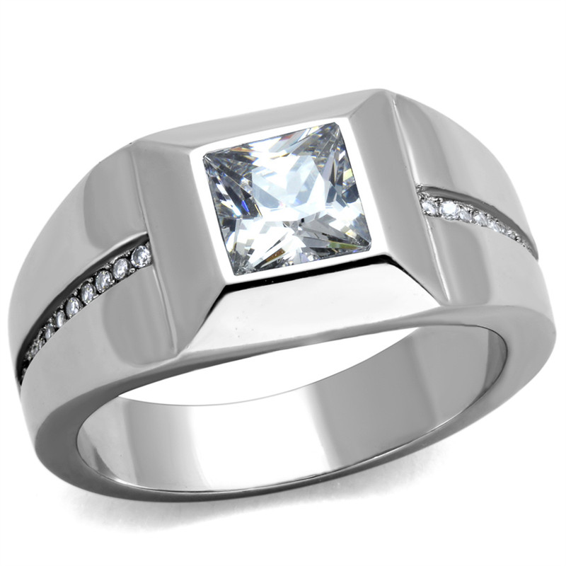 MEN'S STAINLESS STEEL 316L HIGH POLISHED .95 CT CUBIC ZIRCONIA  RING SIZES 8-13