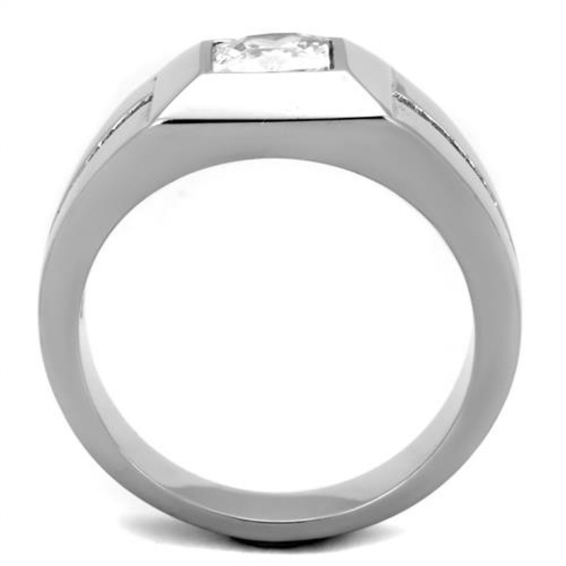 ARTK1916 Men's High Polished .95 Ct CZ Stainless Steel Ring Sizes 8-14