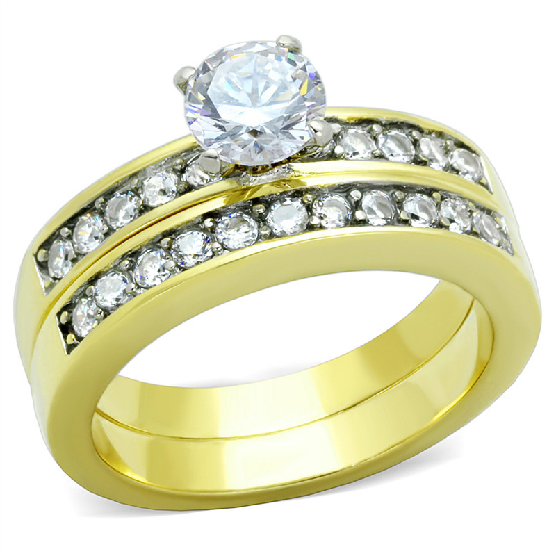 ARTK8X003 Stainless Steel 1.17 Ct Round Brilliant Cut CZ 14k GP  Wedding Ring Set Women's Sz 5-10