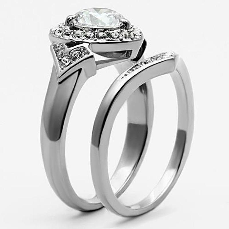 ARTK1087 Stainless Steel 2.75 Ct. Round Cut CZ Halo Heart Wedding Ring Set Women's Sz 5-10