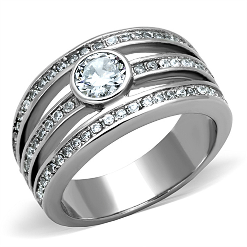 .665CT CUBIC ZIRCONIA STAINLESS STEEL 316L ANNIVERSARY FASHION RING SIZES 5-10