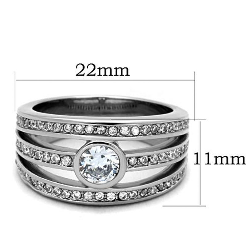 ARTK1525 Stainless Steel 316L .665 Ct Cubic Zirconia Anniversary Fashion Ring Sizes 5-10