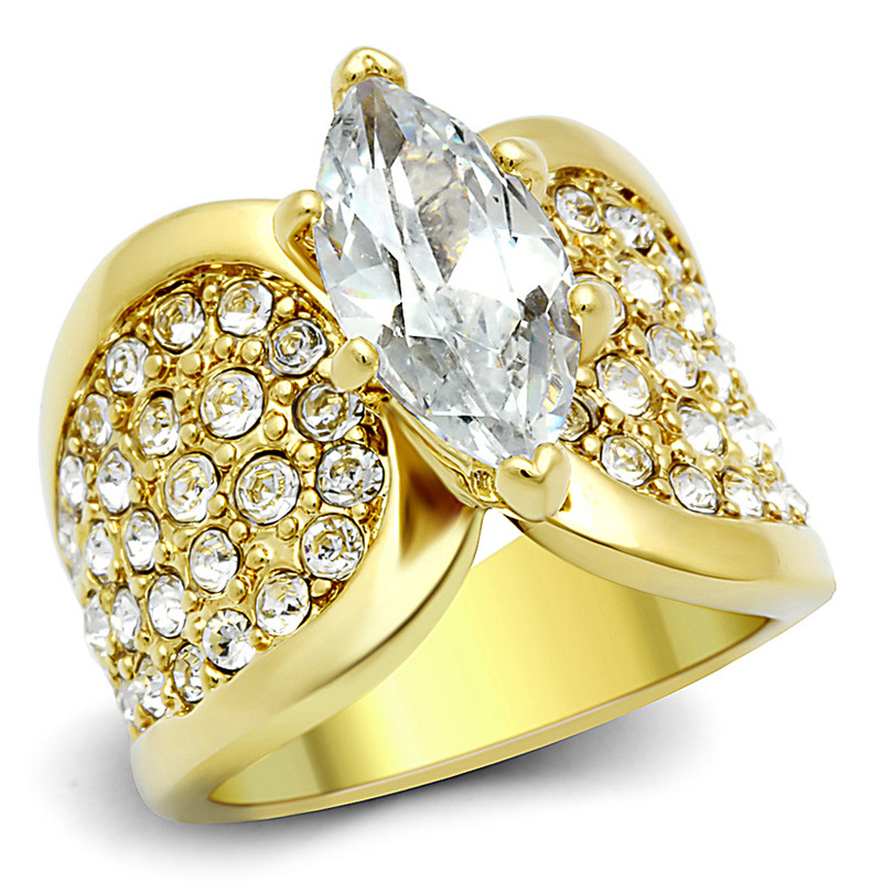STAINLESS STEEL GOLD PLATED 4.34 CT MARQUISE ZIRCONIA ENGAGEMENT RING SIZES 5-10