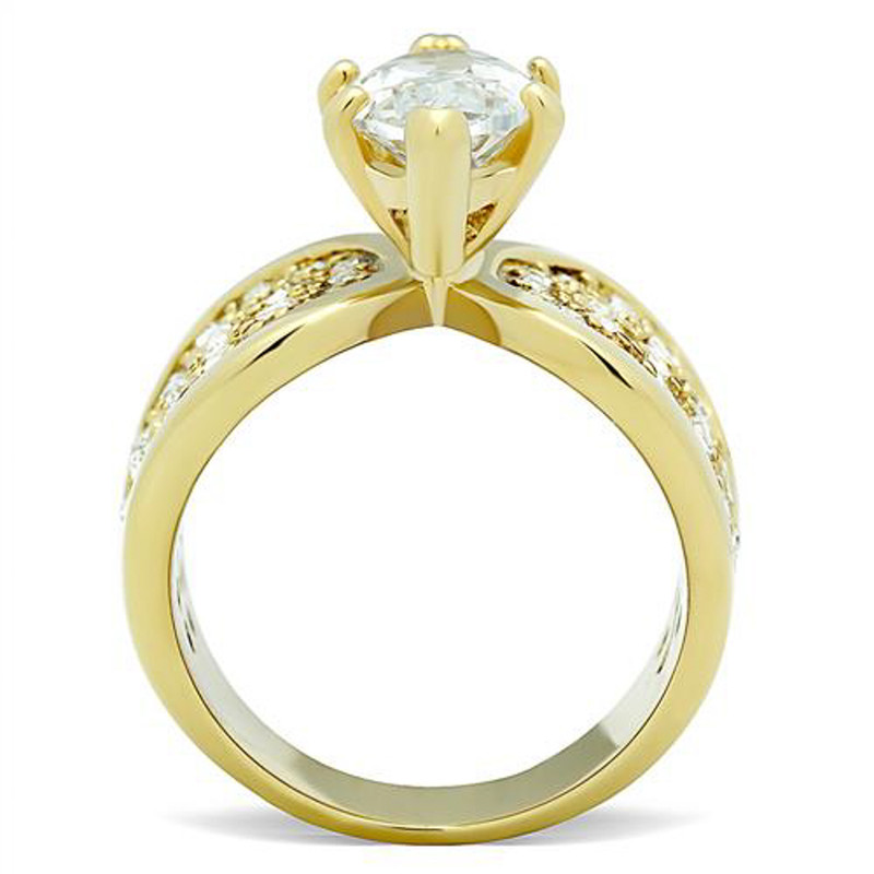 ARTK1672 4.34 Ct Marquise Zirconia Stainless Steel Gold Plated Engagement Ring Sizes 5-10