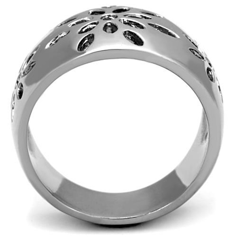ARTK1684 Stainless Steel 316 High Polished Flower Design Fashion Ring Women's Size 5-10