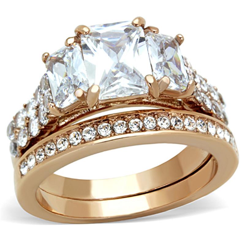 ARTK1690 Rose Gold IP 4.50 Ct Emerald Cut CZ Wedding Engagement Ring Set Women's Sz 5-10