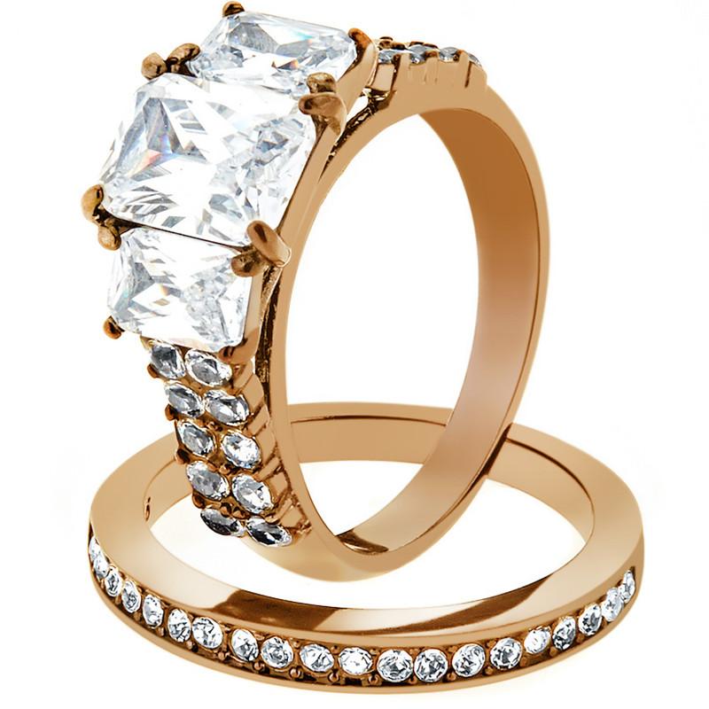 4.50 CT EMERALD CUT CZ ROSE GOLD IP WEDDING ENGAGEMENT RING SET WOMEN'S SZ 5-10