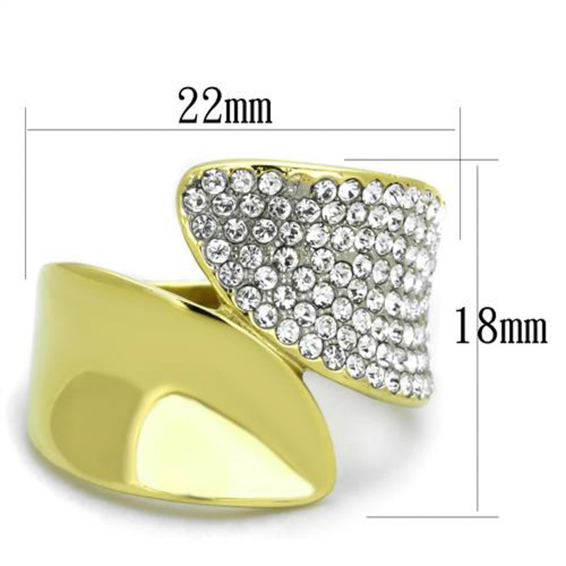 ARTK1912 Stainless Steel 316L Two Toned Ion Plated Crystal Cocktail Ring Sizes Women 5-10