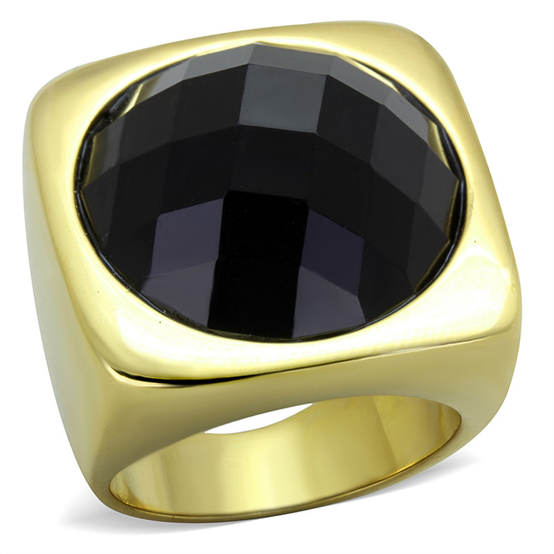 14K GOLD ION PLATED, STAINLESS STEEL 316L, SYNTHETIC ONYX, COCKTAIL, FASHION RING