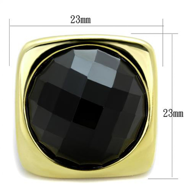 ARTK1925 Stainless Steel 14k Gold IP Synthetic Onyx, Cocktail, Fashion Ring  Size 5-10