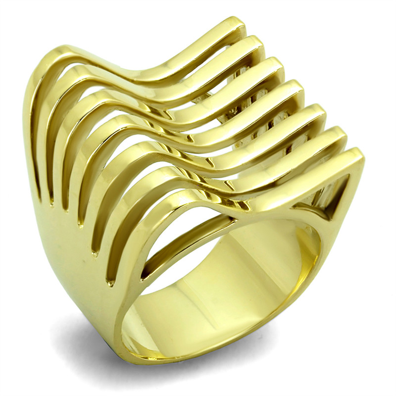 14K GOLD ION PLATED STAINLESS STEEL 316L FASHION RING 22mm WIDE WOMEN'S SZ 5-10