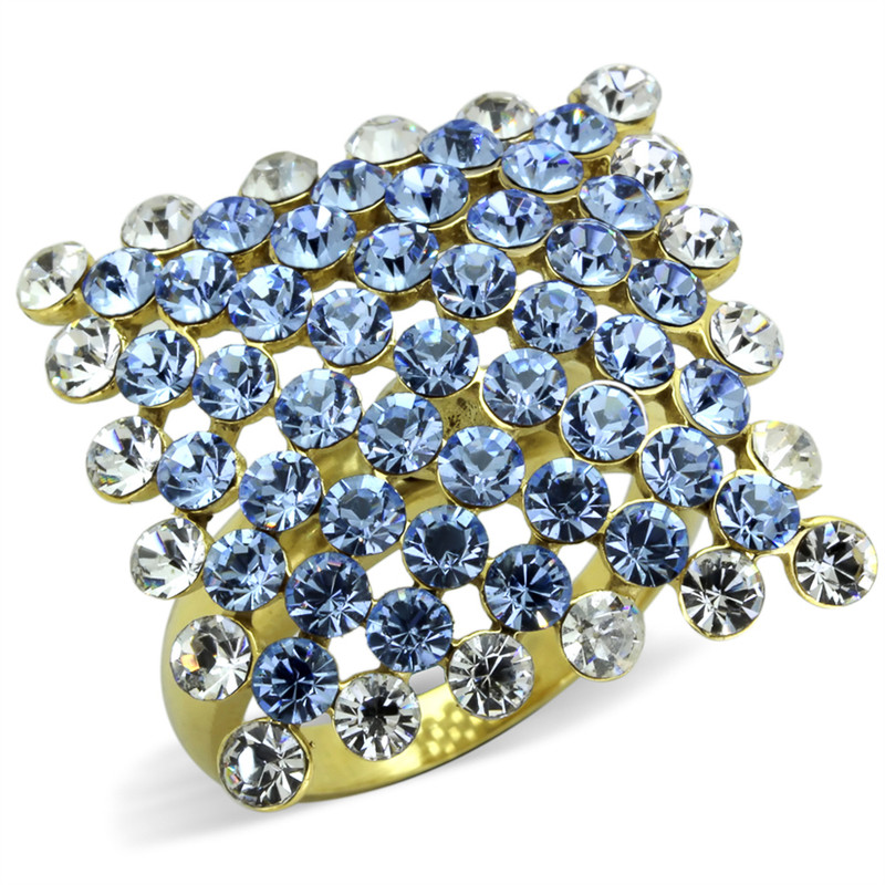 GOLD PLATED STAINLESS STEEL 316, 6.71CT LIGHT SAPPHIRE CRYSTAL COCKTAIL RING 5-10