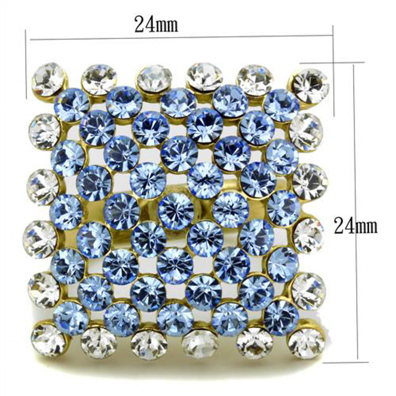 ARTK1643 Stainless Steel 316 Gold Plated 6.71 Ct Light Sapphire Crystal Cocktail Ring 5-10