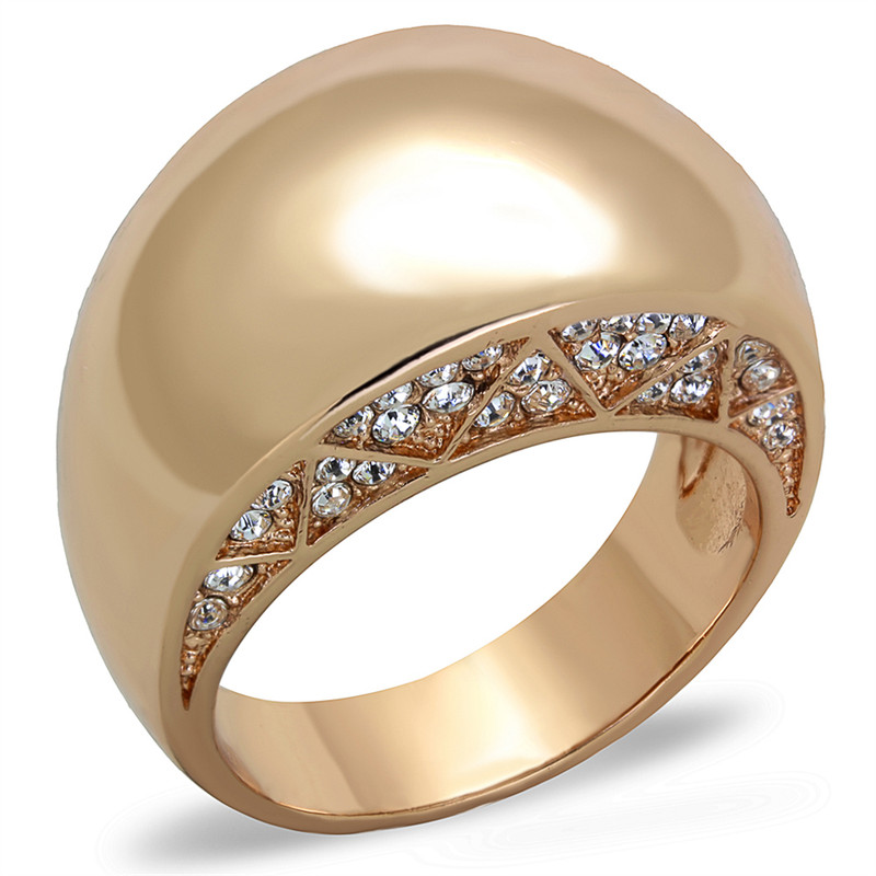 ROSE GOLD PLATED STAINLESS STEEL .3CT CRYSTAL DOME FASHION RING WOMEN'S SZ 5-1 0