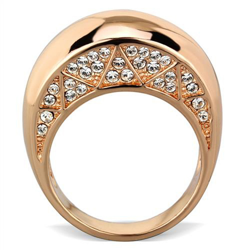 ARTK1798 Stainless Steel Rose Gold Plated .3ct Crystal Dome Fashion Ring Women's Sz 5-1 0