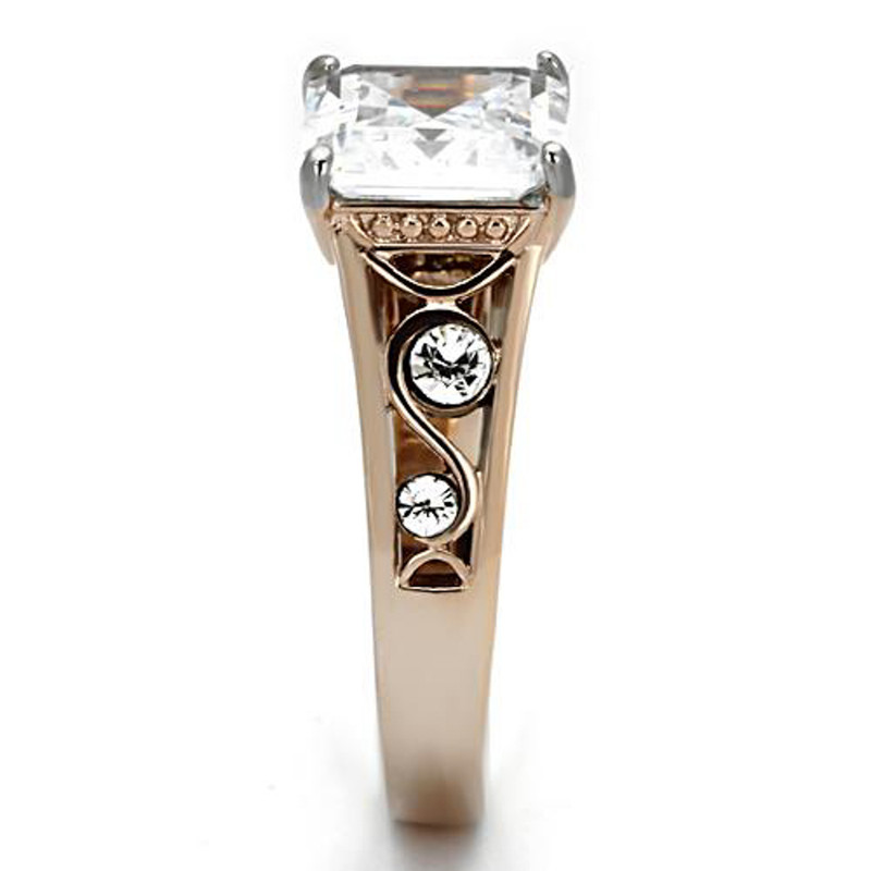 ARTK1059 Stainless Steel 316l, 4.30 Ct Princess Zirconia Rose Gold Women's Engagement Ring