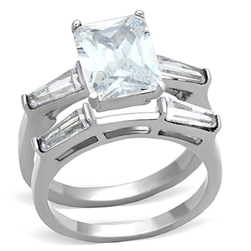 ARTK1229 Stainless Steel 4.45 Ct Emerald Cut Zirconia Engagement Wedding Ring Set Sz 5-10