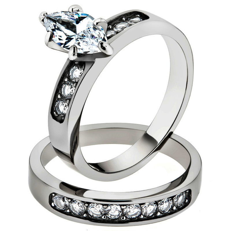 1.65 CT MARQUISE CUT CUBIC ZIRCONIA STAINLESS STEEL 316L WEDDING RING SET SZ5-10